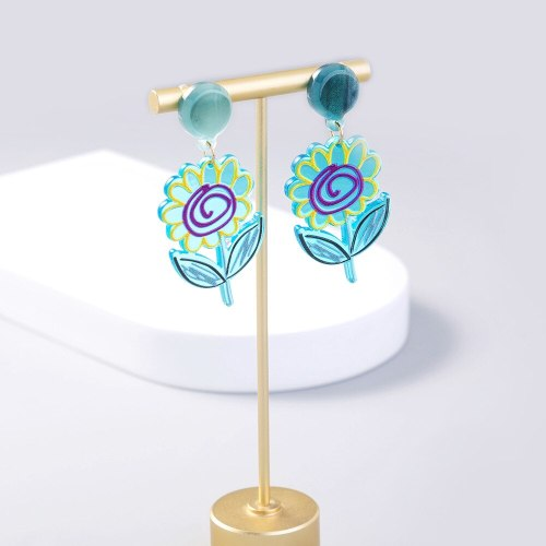 fashion Jewelry Cute Personality Summer Fashion Graffiti Color SUNFLOWER Acrylic Earrings Women's Accessories