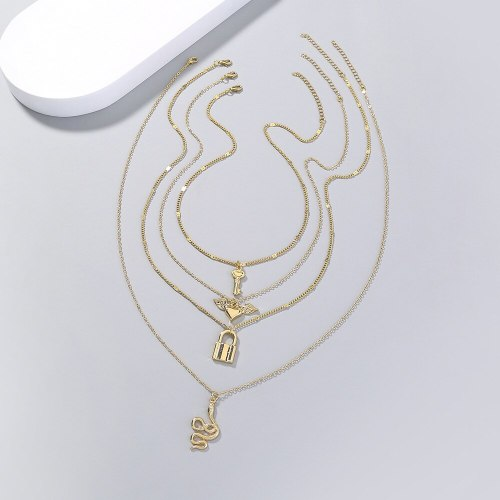 Cross Border Top-Selling Product Fashion Multi-Element Pendant Snake-Shaped Key Necklace Niche Multi-Layer Necklace Ornament