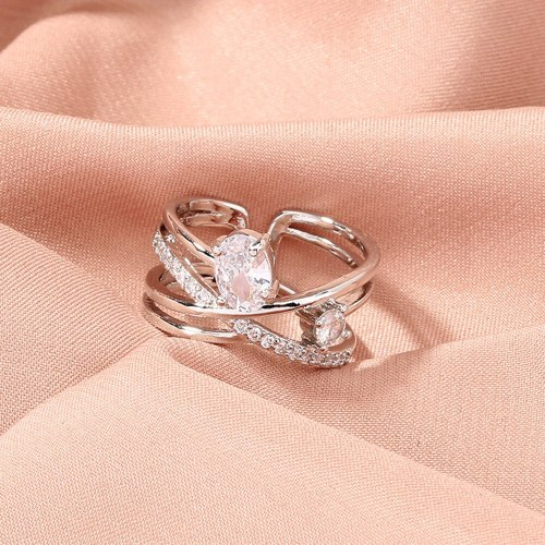 fashion Mosanite Diamond Ring Popular Personalized Ins Style Jewelry Female Niche Design Adjustable Ring Rings