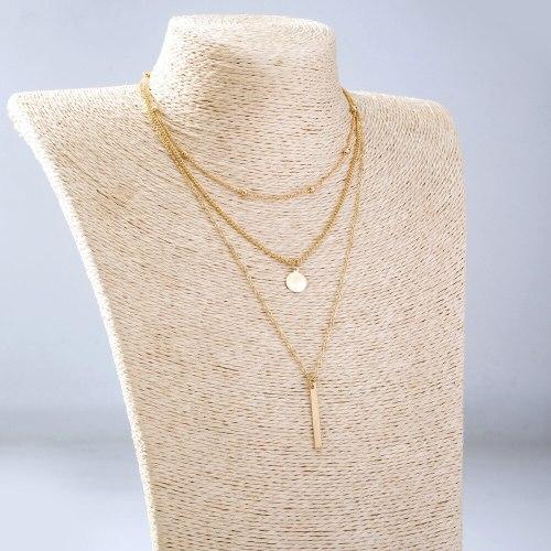 Cross Border Popular Ornament Multi-Layer Wafer Sequin Necklace Simple Fashion Bead Necklace Strip Pendant Neck Accessories