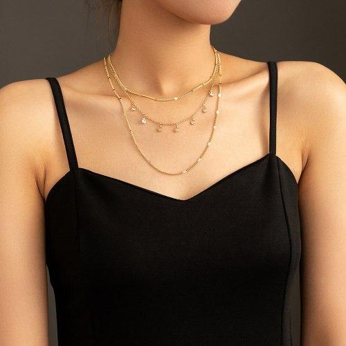 FashionCross Border Fashion Minority Design Micro Inlaid Zircon Necklace Retro Multi-Layer Necklace Women's Jewelry