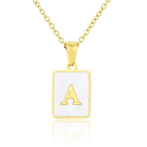 New Necklace Stainless Steel Square Shell 26 Letter Necklace Simple Fashion English Titanium Steel Pendant Necklace