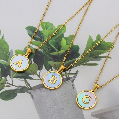 INS Cross-Border New Arrival Stainless Steel Round Blue Shell 26 Letter Necklace Simple Gold English Titanium Steel Pendant