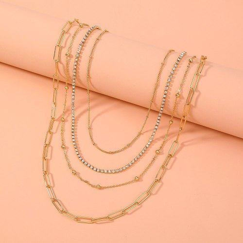 FashionCross Border Cool Style Simple Multi-Layer Necklace Fashion Design Chain Trendy All-Match Clavicle Chain
