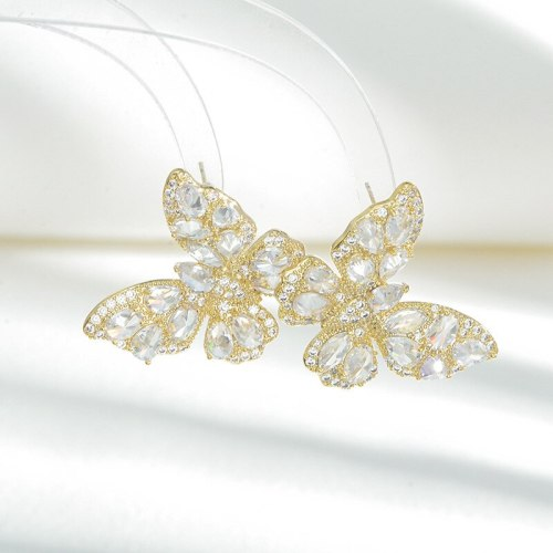 Heavy Industry High-Grade Color Zircon Earrings Female Atmosphere Sterling Silver Needle Three-Dimensional Butterfly Studs