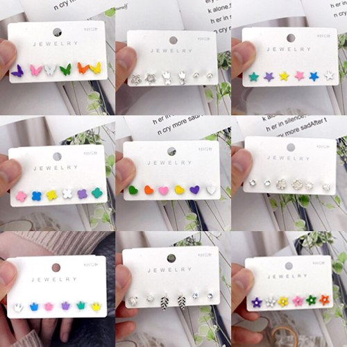 Korean Style New Niche Earrings Women's Combination Set Fashionable Simple 925 Silver Nail Inlaid Zirconium Colorful Earrings