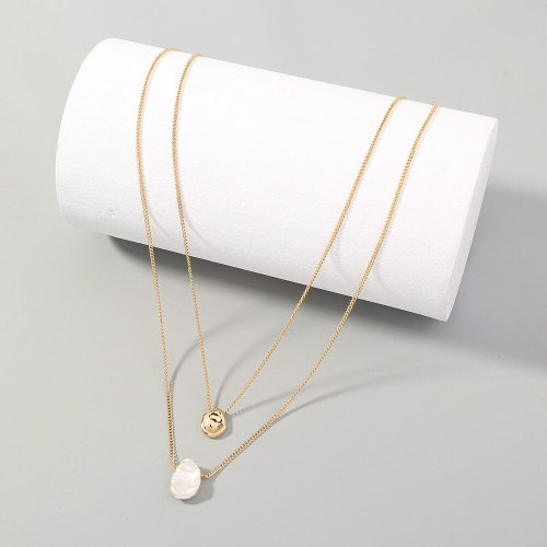 Foreign Trade Cold Ins Style Trendy Minimalist Design Double Layer Twin Shaped Little Golden Beans Pearl Necklace For Women