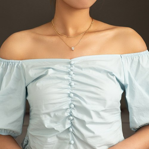 FashionCross Border Trendy Retro Micro Inlaid Zircon Necklace Niche Retro Multi-Layer Necklace Ornament