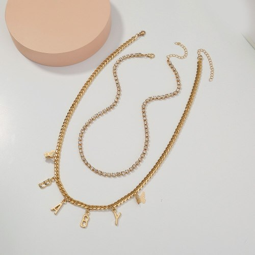 fashion New Hot Metal Letter Necklace Simple Twin Multi-Layer Love Necklace Clavicle Chain Female