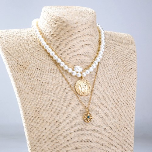 fashion Fashion Special-Interest Gold Pendant Pearl Chain Stitching Necklace Clavicle Chain Ins Style Ornament