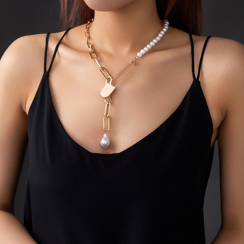 INS Popular Ornament Metal Pin Safety Pin Plaid Chain Stitching Imitation Baroque Pearl Single Layer Necklace