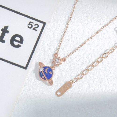 New Fantasy Planet Necklace Female Light Luxury Minority Style Pendant Epoxy Zircon Pendant Online Influencer Clavicle Chain
