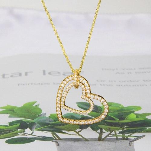 INS FashionCross Border E-Commerce Inlaid Zirconium Temperament Double Love Pendant Fashion Ornament
