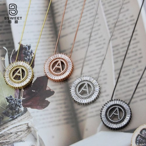 Cross-Border Sold Jewelry English Letter Necklace Simple Couple Round Zircon Letter Pendant Clavicle Qixi Necklace