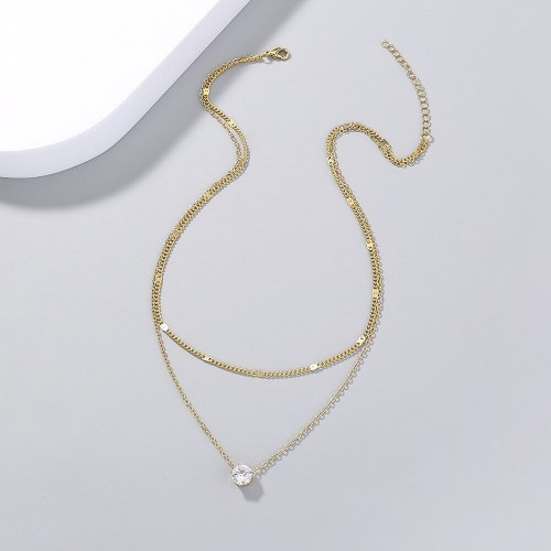 Hot Selling fashion Style Simple Fashion Zircon Pendant Double Layer Necklace Elegance Retro Clavicle Chain