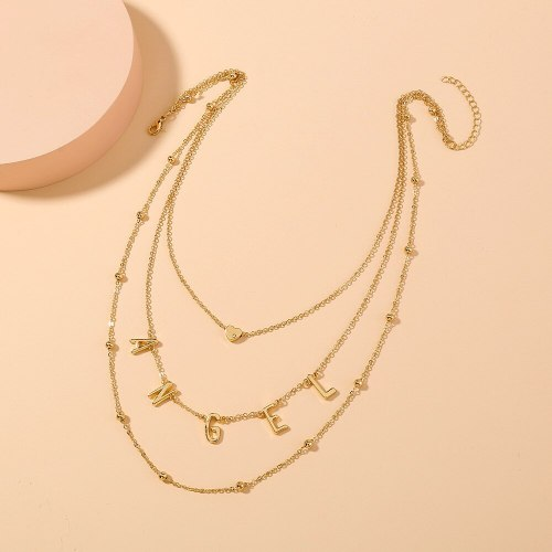 FashionCross Border New Hot Metal Letter Necklace Simple Twin Multi-Layer Love Necklace Clavicle Chain