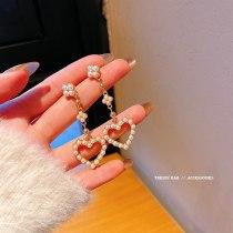 Wholesale New Long Heart Pearl Earrings Female 925 Silver Stud Earrings Dropshipping