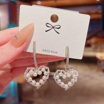 Sterling Silver Needle New Hollowed Heart Shape Pearl Zircon Earrings for Women  Drop Earrings