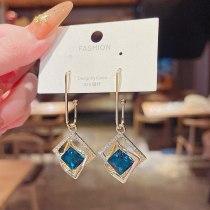 wholesale 925 Silver Needle New Geometric Hollow Hook Earrings Women's Blue Gemstone Earrings