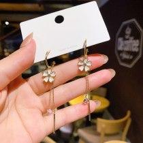 Wholesale 925 Silver Needle Flower Long Fringe Earrings Female Stud Drop Earrings Dropshipping Jewelry Fashion