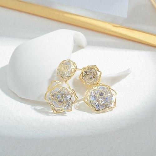 Wholesale Korean Fashion Zircon Hollow Petal Stud Earrings Women's Sterling Silver Needle Eardrops Earrings Jewelry