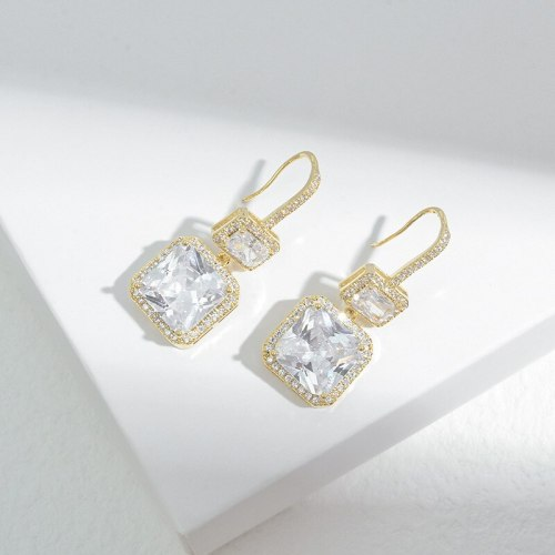 Korean Style Fashion Geometry Pattern Square Zircon Earrings for Women Sterling Silver Needle Personalized Exaggerated Earrings