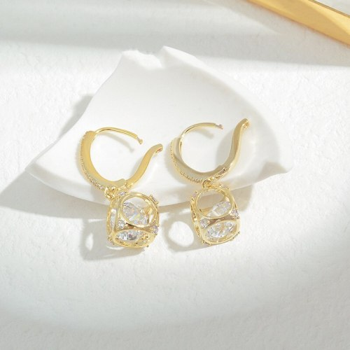 Wholesale Ins Zircon Hollow Lucky Ball Drop Earrings Exquisite Ear Clip Fashion Earrings for Women