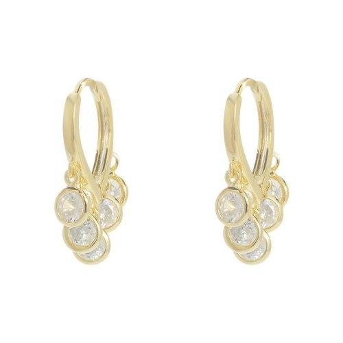 Korean Style Fashion Zircon Peach Heart Ear Clip Female Earrings TikTok Earrings for Women