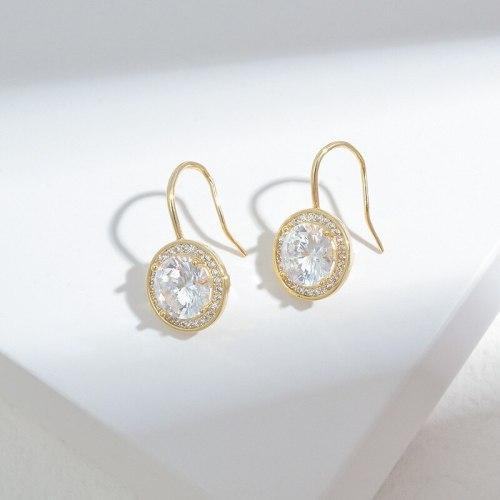2021 New Geometric Round Zircon Earrings Female S925 Silver Pin Fashion Earrings