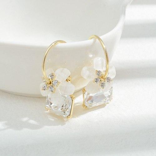 Wholesale Sterling Silver Needle Zircon Petal Drop Earrings Women Earrings Fashion Ornament