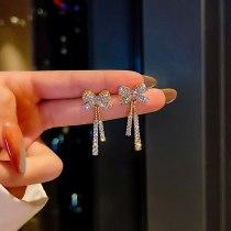 Wholesale Sterling Silver Pin New Diamond Long Bow Tie Earrings Female Stud Earrings Jewelry Gift