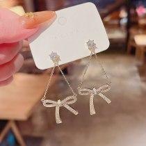 Wholesale Sterling Silver Pin Bowknot Earrings Women's Full Diamond Chain Earrings Jewelry Gift