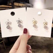 Wholesale 925 Silver Pin Earrings Bow Zircon Long Eardrops Earrings Wholesale Jewelry Gift