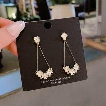 Wholesale Sterling Silver Pin White Pearl Flower Earrings Long Style Petals Eardrop Earring Jewelry Gift