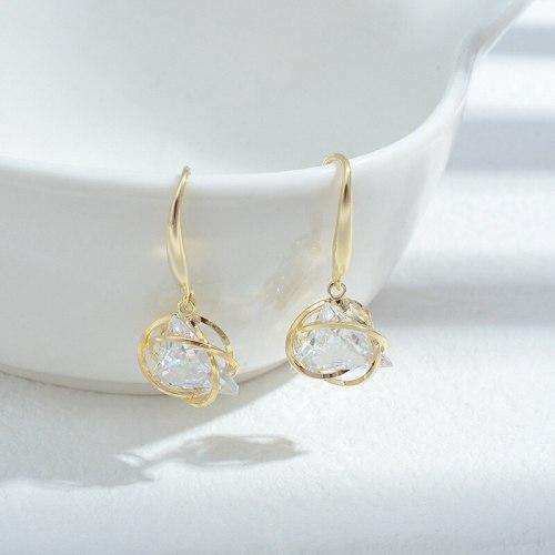 Wholesale Geometric Zircon Earrings for Women Sterling Silver Pin Post Earrings Ear Studs Jewelry Gift