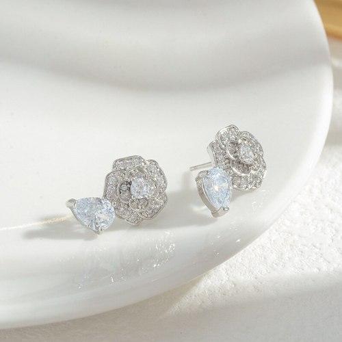 Wholesale Zircon Flower Stud Earrings for Women Sterling Silver Pin Post Earrings Eardrops Jewelry Gift