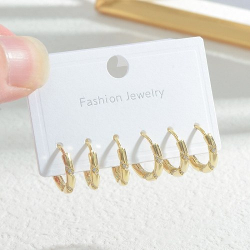 Wholesale Copper Plated Real Gold Ear Clip Female Women One Card Three Pairs Set Earrings Fashion Jewelry Gift