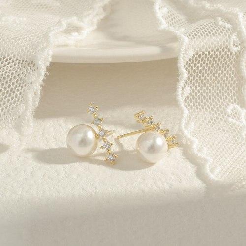 Wholesale Sterling Silver Pin Post Zircon Pearl Stud Earrings Women's Earrings Jewelry Gift