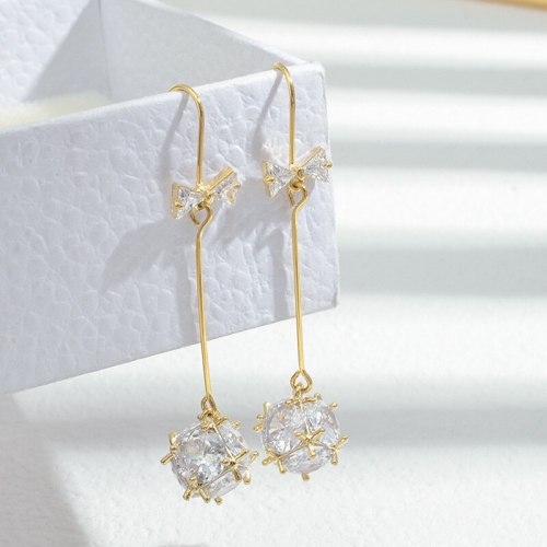 Wholesale Sterling Silver Pin Post Zircon Long Bow Tie Stud Drop Earrings for Women Lucky Ball Earrings Jewelry Gift
