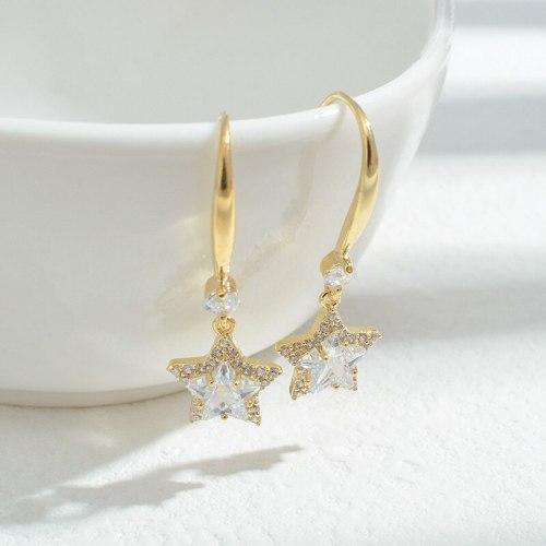 Wholesale Sterling Silver Pin Post Zircon Star Earrings Ear Studs Women Jewelry Gift