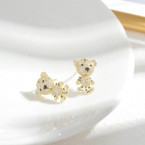 Wholesale Zircon Diamond Tiger Stud Earrings for Women Sterling Silver Pin Post Eardrops Earrings Jewelry Gift