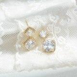 Wholesale Sterling Silver Pin Post Geometric Square Earrings Zircon Studs Female Women Accessories Jewelry Gift