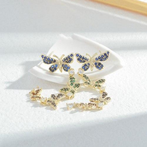 Wholesale Colorful Zircon Butterfly Studs Female Women Sterling Silver Pin Post Earrings Jewelry Gift
