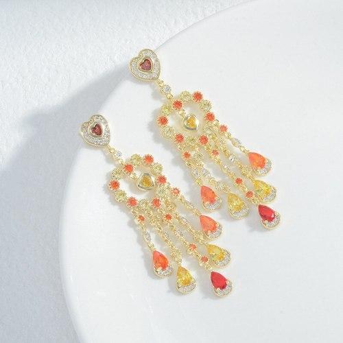 Wholesale Colorful Zircon Dream Catcher Ear Studs Female Women Sterling Silver Pin Post Earrings Jewelry Gift