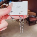 Wholesale Asymmetric Chain Earrings for Women Sterling Silver Pin Post Stud Earrings Jewelry Gift