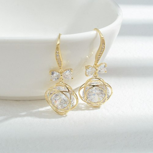Wholesale Sterling Silver Pin Post Zircon Bow Earrings Ear Studs Female Women Accessories Jewelry Gift