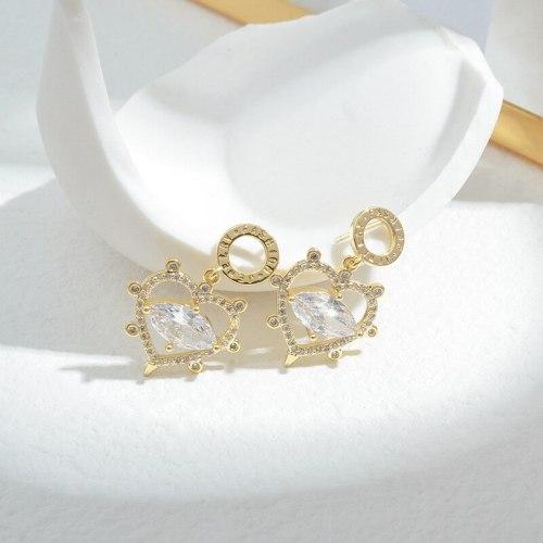 Wholesale Sterling Silver Pin Post Heart-Shaped Zircon Ear Stud Earring Women Jewelry Gift