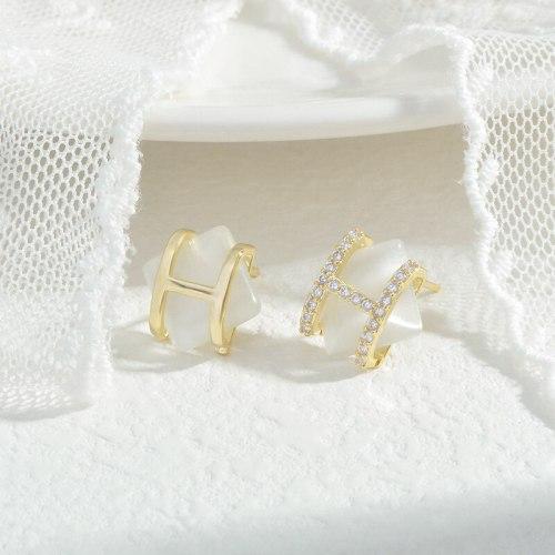 Wholesale Opal H Alphabet Letter Earrings Women's Sterling Silver Pin Post Earrings Jewelry Gift