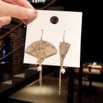 Wholesale New Fan-Shaped Earrings Women's Long Tassel Eardrop Earring Jewelry Gift