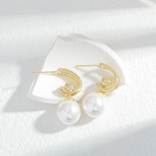 Wholesale Sterling Silver Pin Post Zircon Full Diamond Pearl Earrings Ear Studs Female Women Accessories Jewelry Gift
